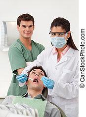 kontroll, tand patient, uppe, ha