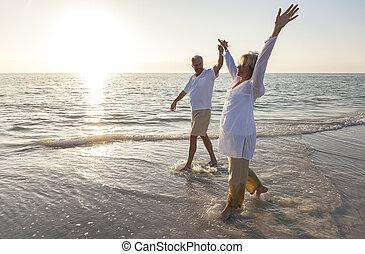 koppla solnedgång, gårdsbruksenheten räcker, senior, strand, soluppgång, lycklig