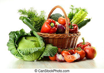 korg, flätverk, grönsaken