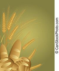 korn, bröd, vete, illustration, stalks