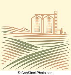 korn, landskap, hiss, en