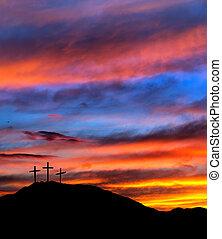 korsar, kristen, religiös, -, solnedgång, bakgrund, påsk, sky