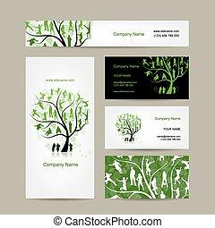 kort, affär, träd, design, familj