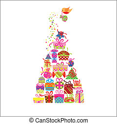kort, hälsning, färgrik, gåva, jul