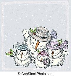 kort, släkt jul, glad, snowmen