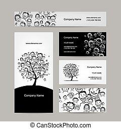 kort, träd, design, affärsfolk