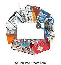 kort, utrymme, text, eller, skaffar, medicin, omsorg, busiiness, utrustning, förgiftar, concept., medicinsk, biljard, foir, första hjälpen, hälsa, kit., apotek