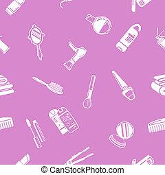 kosmetika, seamless, bakgrund, textu