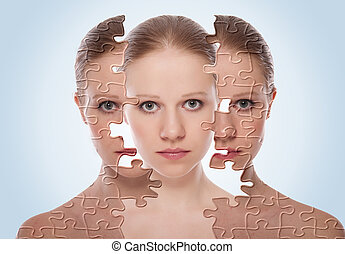kosmetisk, skinn, för, care., ansikte, effekter, behandling, kvinna, efter, procedur, begrepp, ung