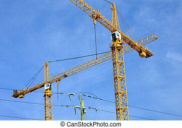 kran, industriell, skyskrapor, bygga