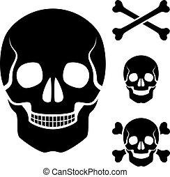 kranium, symbol, kors, vektor, mänsklig, knotor