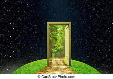 kreativitet, dörr, öppnat, mull, fantasi