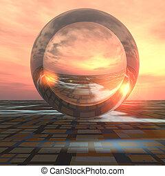 kristall, framtid, boll, galler, horisont