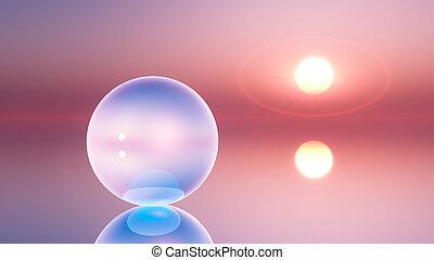 kristall, klot, horisont, surrealistisk