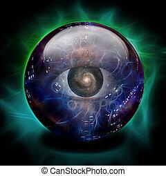 kristallkula, ögon, galax