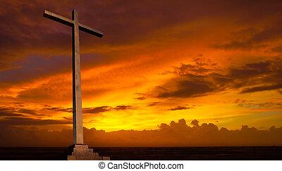 kristen, bakgrund., sky., kors, religion, solnedgång