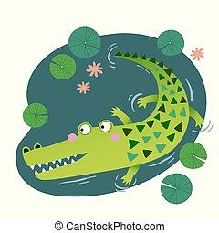 krokodil, söt, vektor, pond., illustration