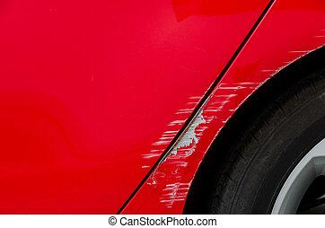 kropp, olycka, bil, -, stupfull, röd