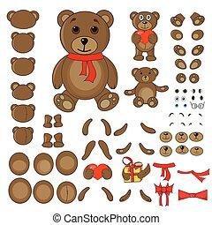 kropp, vektor, särar, björn