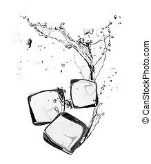 kuben, isolerat, isvatten, plaska, bakgrund, vit