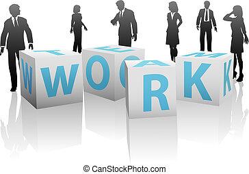 kuben, silhuett, folk, tydlig, arbete lag, vit