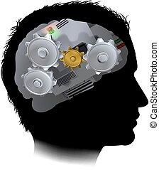 kuggar, maskin, hjärna, utrustar, arbetsgång, man