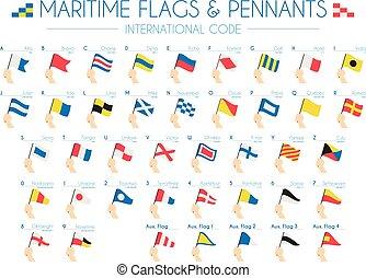 kust, internationell, vektor, pennants, flaggan, illustration, kodex