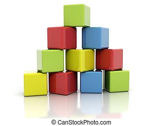 kvarter, färgrik, byggnad