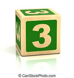 kvarter, trä, numerera tre, 3, dopfunt