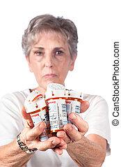 kvinna, äldre, medicinsk behandling