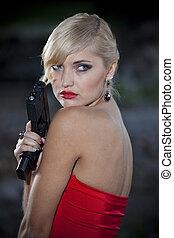 kvinna, årgång, gevär