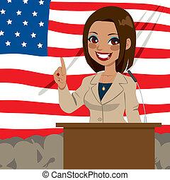 kvinna, amerikan, politiker, afrikansk, flagga