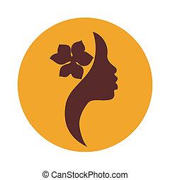kvinna, amerikansk ikon, ansikte, afrikansk