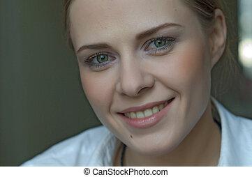 kvinna, applicera makeup