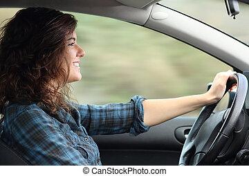 kvinna, bil, lycklig, profil, drivande