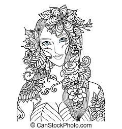 kvinna, blomningen