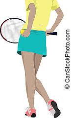 kvinna, co, spelare, silhouette., tennis