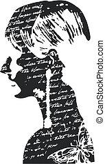 kvinna, design, illustration