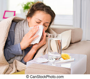 kvinna, flu., fångat, nysning, cold., vävnad, sjuk, woman.
