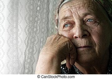 kvinna, gammal, tankfull, trist, ensam, senior