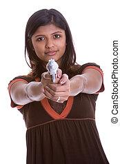 kvinna, gevär