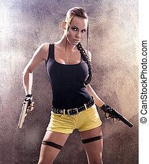 kvinna, gevär, strike, baksida