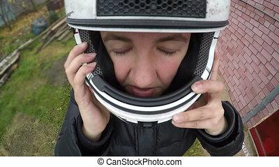 kvinna, henne, ansikte, motorcykel, äventyren, adrenalin, sätta, vuxen, lycklig, hjälm, ytterlighet