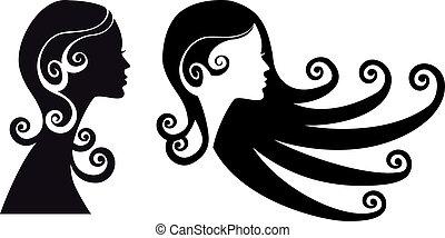 kvinna, huvuden