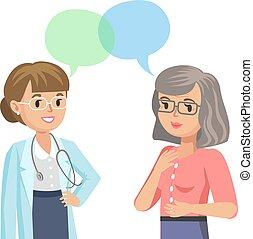 kvinna, illustration., läkare, patient., talande, vektor, senior, physician.