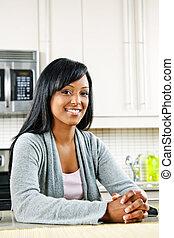 kvinna, kök