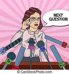 kvinna, konst, ge sig, media, pop, tillitsfull, vektor, mässa, illustration, interview., press, conference.