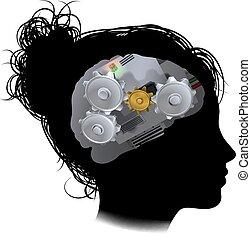 kvinna, kuggar, maskin, hjärna, utrustar, arbetsgång