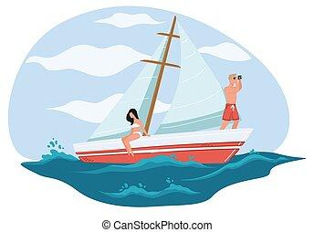 kvinna, man, vektor, yacht, eller, segelbåt, avkopplande