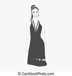 kvinna, mode, illustration.